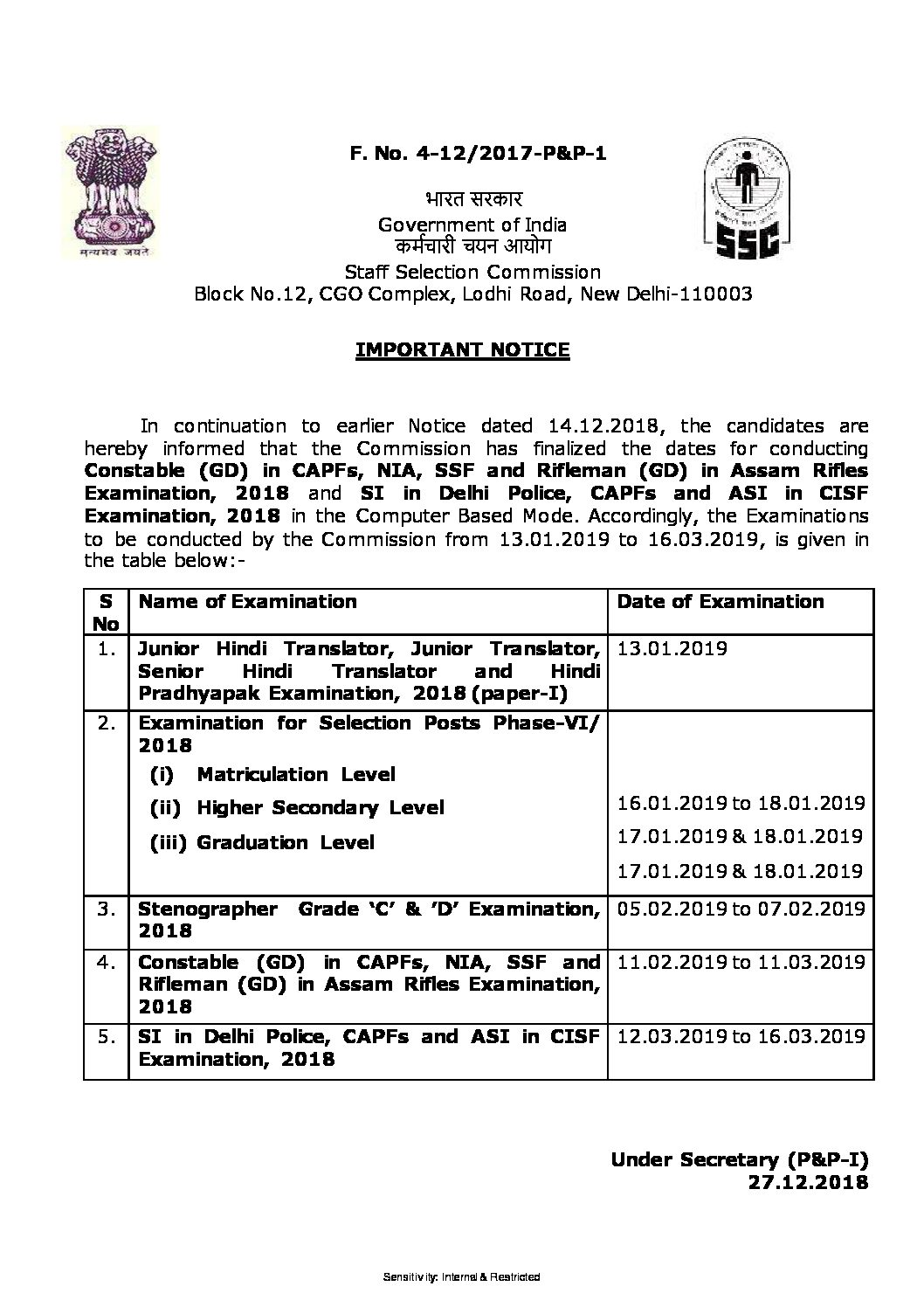 Important Notice-Examinations to be conducted by the Commission from 13.01.2019 to 16.03.2019