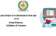 SYLLABUS FOR RSMSSB PATWARI 2020