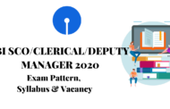 SYLLABUS FOR SBI SCO/ CLERICAL/ DEPUTY MANAGER 2020