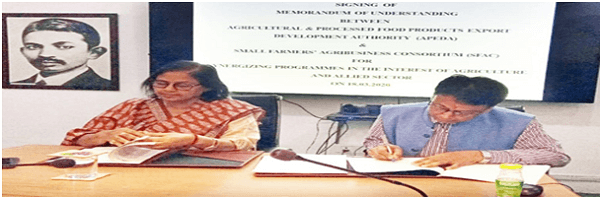 APEDA signs MoU with SFAC for development of agriculture sector